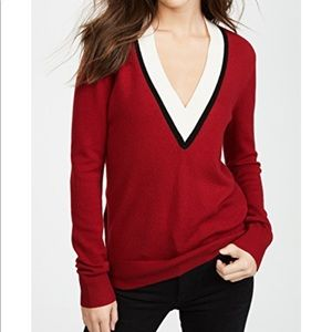 Veronica Beard Barrett Red V-Neck Cashmere Sweater